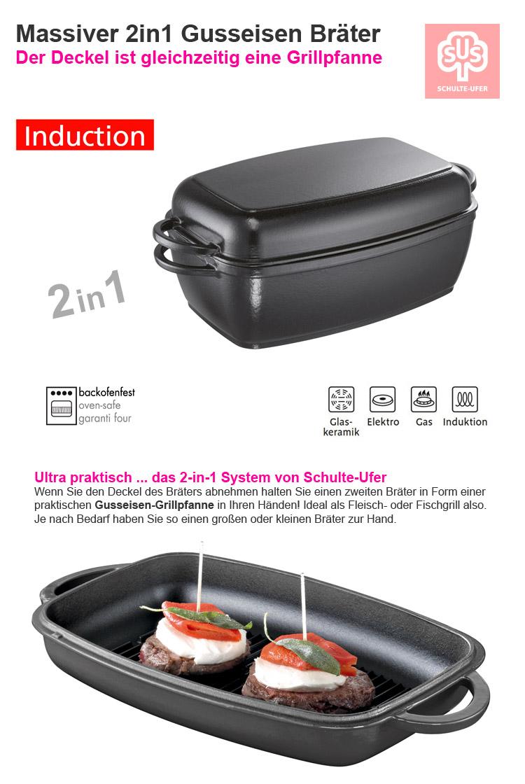 schulte ufer 2in1 guss eisen multi br ter grill pfanne im deckel schmor topf ebay. Black Bedroom Furniture Sets. Home Design Ideas