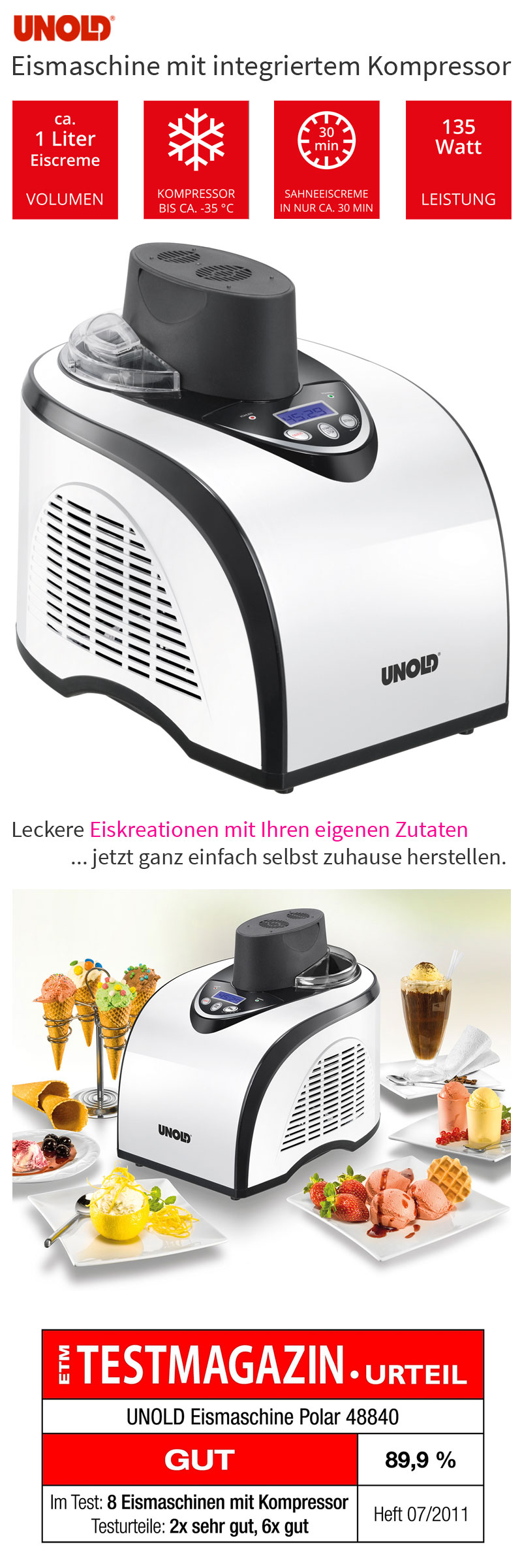 Unold Polar Kompressor Speise Eismaschine Digital-Display Eiscreme ...