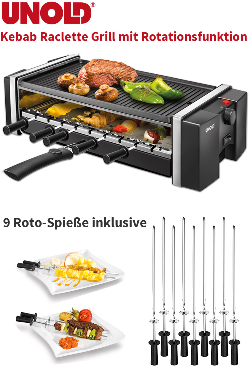 unold grill kebab raclette tisch elektro grill 9 sich drehende roto spie e ebay. Black Bedroom Furniture Sets. Home Design Ideas