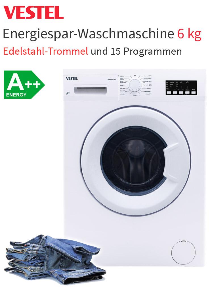 vestel a waschmaschine 6 kg display waschautomat mengenautomatik startzeit neu ebay. Black Bedroom Furniture Sets. Home Design Ideas