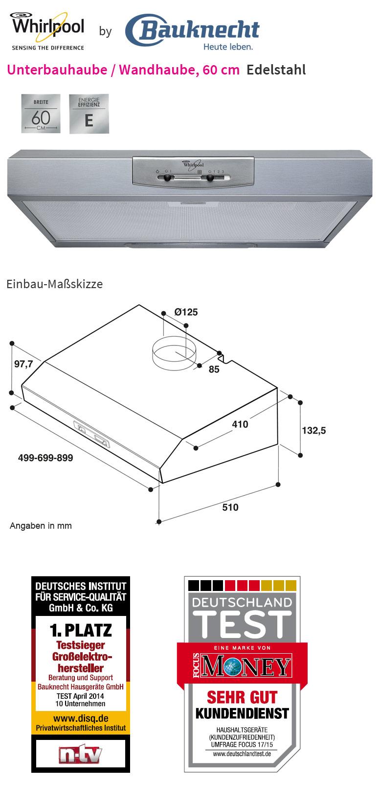 whirlpool akr 400 ix edelstahl 60 cm unterbau dunstabzugshaube unterbauhaube neu. Black Bedroom Furniture Sets. Home Design Ideas