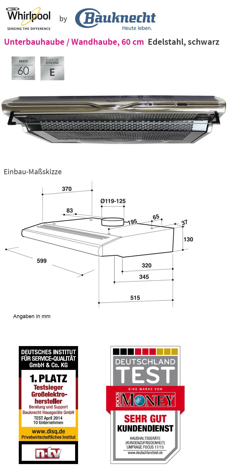 whirlpool akr 420 1 ix edelstahl 60 cm unterbau dunstabzugshaube unterbauhaube ebay. Black Bedroom Furniture Sets. Home Design Ideas